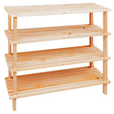 furniture rectangle soft brown wooden shoe rack with four racks and legs unique shoe
