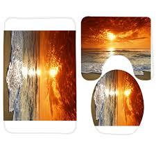 Großhandel Badezimmer Matten Gesetzte Strand Orange Sonnenuntergang