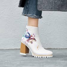 2019 fashionable graffiti printing white leather boots block heel platform zipper ankle boots designer shoes women