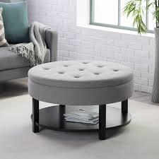 Grey Tufted Round Storage Ottoman With Shelf For
