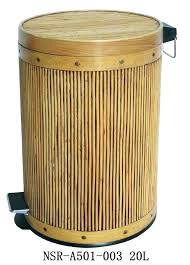 outdoor wicker trash can costco waste basket small size of rattan liter stained step bin thumbnail