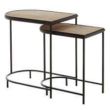 wood top nested coffee table set