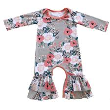 Baby Night Dress Design New Design Cotton Floral Ruffle Romper Baby Girl Sleeper Romper Hospital Outfit Ruffled Night Gown Baby Pajamas