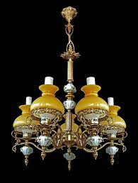 antique french victorian limoges porcelain bronze yellow glass shades chandelier in excellent condition for