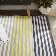 colorstep stripe cotton dhurrie rug black sun yellow west elm