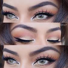 peach and gold eye makeup look for green eyes