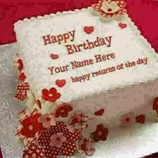 Roses Heart Birthday Cake Husband Name Edit