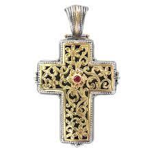 gerochristo 5246 solid 18k gold silver ruby byzantine cross pendant
