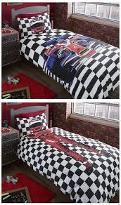black white checd race car bedding twin or full duvet cover set reversible formula 1 driver