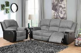grey and black fabric and faux leather sofa set
