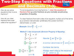 3 pre algebra how do you solve equations that involve fractions