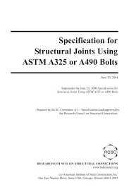 Specification For Structural Joints Using Astm A325 Or A490