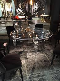 of acrylic dining table in round shap on white acrylic dining chair square clear glass display