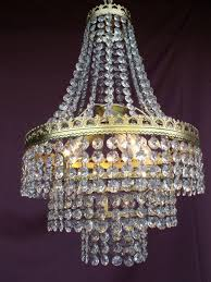 vintage chandelier re chandelier lampadario with cut glass crystals france second