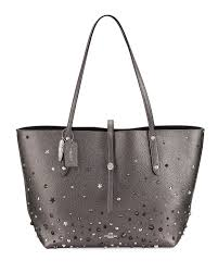 Market Studded Leather Tote Bag, Metallic Graphite