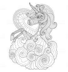 Hand Getekend Unicorn Met Hart Voor Volwassen Kleurplaat