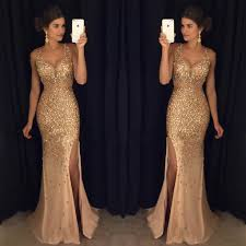 2018 Sexy Long Crystal Beaded Prom Dress With Slit Mermaid Prom