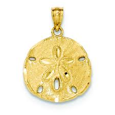 14k yellow gold large sand dollar charm pendant msrp 230