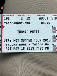 Tacoma Dome Thomas Rhett Seating Chart New And Used Tickets For Sale In Burien Wa Offerup