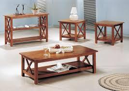 3 pcs brown coffee table set