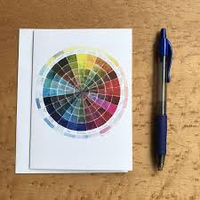 Watercolor Intensity Color Wheel Chart Blank Note Card