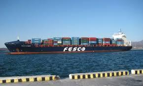 Судозаход большого контейнеровоза на ВСК fesco