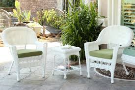 3 piece white resin wicker patio chairs
