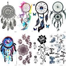 Akvarel Dream Catcher Dočasné Tetování ženy Tribal Tetování Nálepka