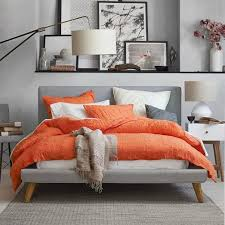 22 Beautiful Bedroom Color Schemes | Light gray walls, Linens and Orange  bedrooms