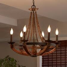 rustic iron burnished wood sculpted wood beads 3 light 6 light candelabra chandelier