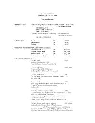 Resume : Sample Resume For High School Math Teacher Samples English ...