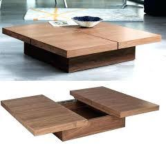 large wood coffee table square en dark