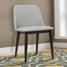 light gray fabric and brown wood finish contemporary dining chair