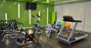 home gym lighting. serene green walls and florescent strip lighting with a selection of equipment from mcsport including home gym