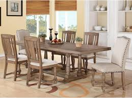 Winners Only Xcalibur 7 Piece Trestle Table and Upholstered Chair ...
