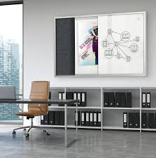 featuring sliding panels made with modern magnetic glass in glossy white the visionary magnetic glass sliding enclosed cabinet adds instant style