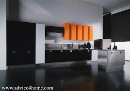 Black And Orange Kitchen Cabinet Design And Modern Kitchen Design