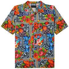 Shirt Design Flower Versace Jeans Couture Versace Jeans Couture Floral Print Open Collar Shirt