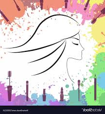 face of beautiful makeup artist logo vector