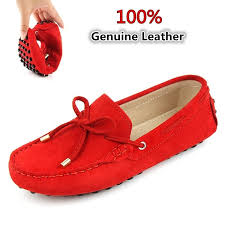 <b>100</b>% <b>Genuine Leather Women</b> Flats Shoes Casual Driving Peas ...