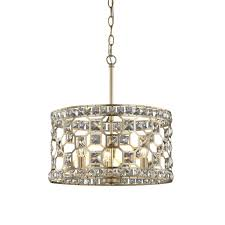 fifth and main lighting paris 3 light champagne gold with clear crystal pendant