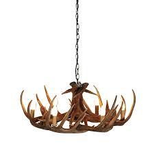 large brown 6 light antler chandelier
