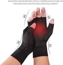wendaby Half Finger Gloves <b>Copper Fiber</b> Rehabilitation Training ...