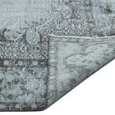 light blue over dyed turkish vintage rug 6 3 x 9 9 75 in x 117 in