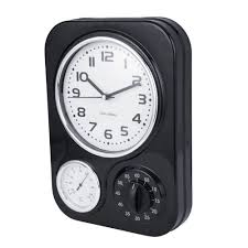 clotille retro kitchen wall clock timer black