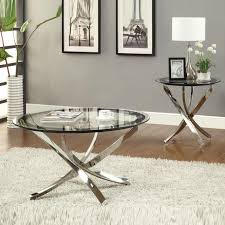 coffee table nickel round tempered glass top chrome legs cocktail coffee table end table round