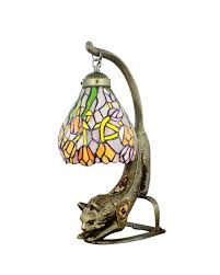 sea glass table lamp free ship stained tiffany beside light with metal cat base fixture mediterranean