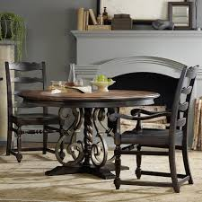 treviso wood wrought iron round dining table in dark macchiato