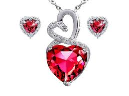 mabella eternity heart cut created ruby pendant earring set sterling silver