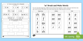 Printable worksheets for teaching students to read and write basic words that begin with the letters br, cr, dr, fr, gr, pr, and tr. Ee Sound Break And Make Activity Shee Teacher Made